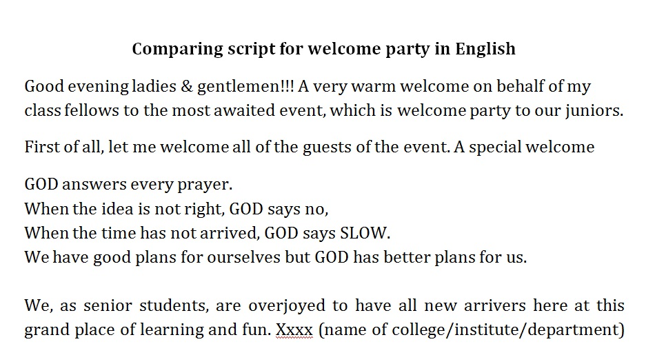 welcome party speech for juniors in english