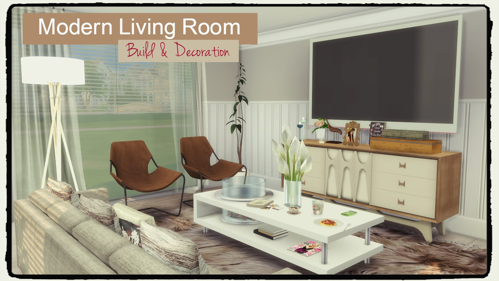 Sims 4 modern living room dinha for Living room june jordan