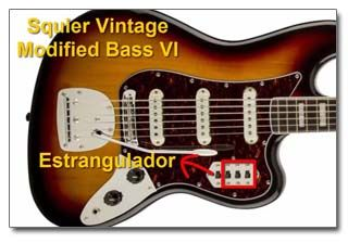 Controles de la Guitarra Barítono Squier Vintage Modified Bass VI