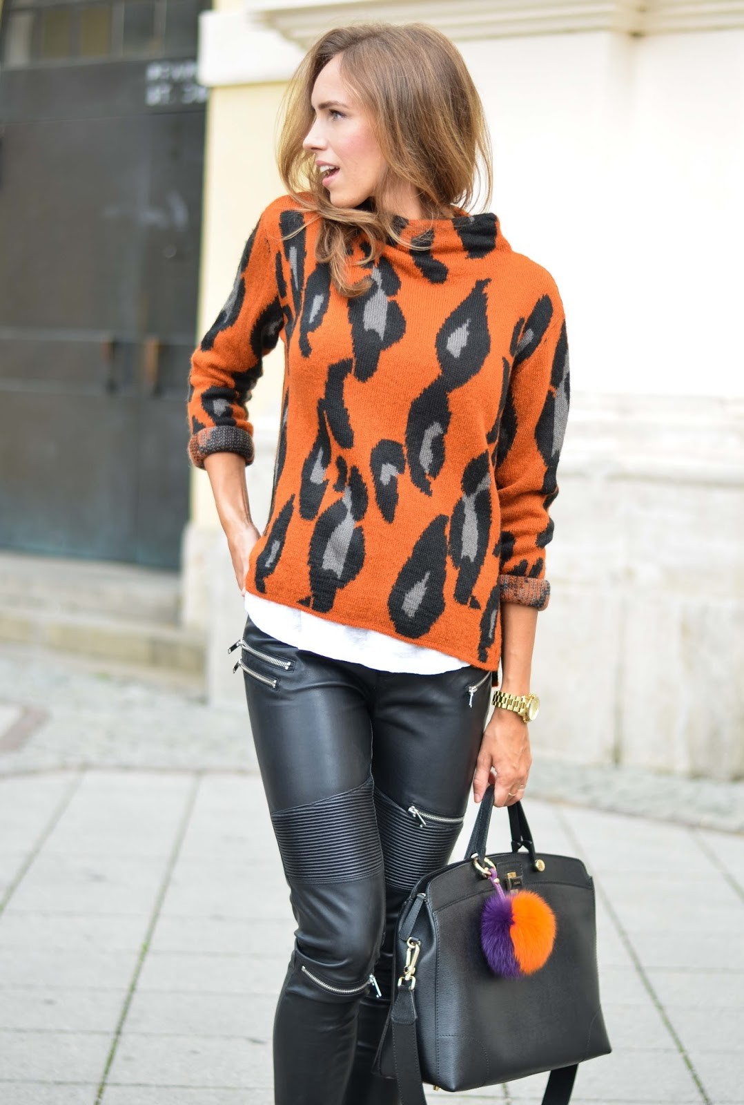 kristjaana mere prefall leopard sweater leather pants