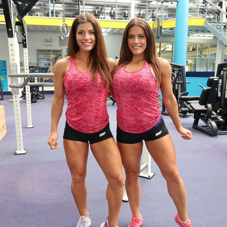 Jenny and Lucy West twins female Fitness Model