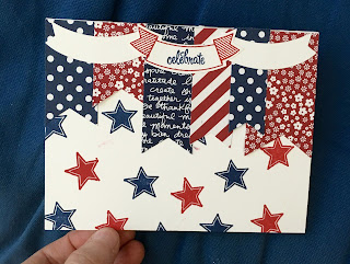 4th of July card makes bunting using Thoughtful Banners and Duet Banners Punch