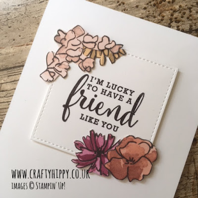 This image shows a floral, handmade card for a friend made with the Share What You Love Specialty Designer Series Paper by Stampin' Up!