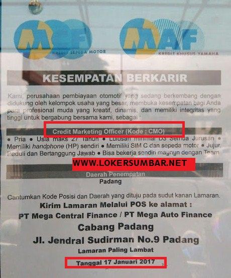 Lowongan Kerja di Padang – PT.Mega Central Finance – CMO (Penutupan 17-1-2017)