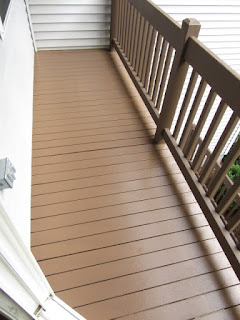 2nd floor deck after rolling out paint.