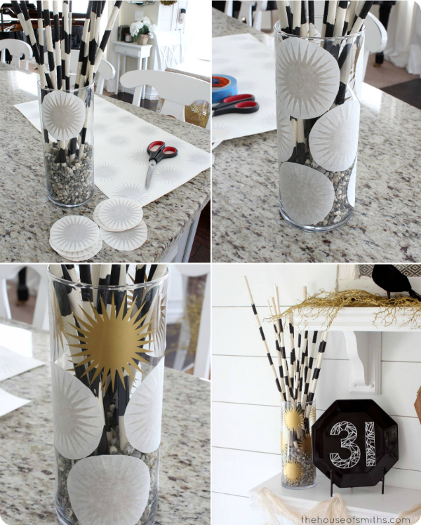 Gold Burst Decal Vase for Halloween - thehouseofsmithsdesigns.com