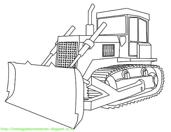 5 gambar mewarnai bulldozer untuk anak paud dan tk