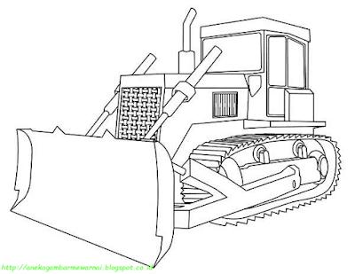 Mewarnai Gambar Bulldozer - 1