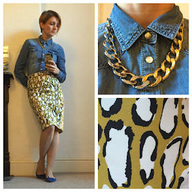Boden print pencil skirt and LaRedoute denim shirt