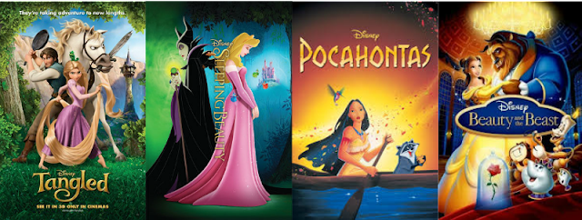 Tangled, SLEEPING BEAUTY, POCAHONTAS, Beauty and the Beast, Disney, POSTERS, MOVIE MAGIC