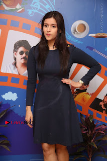 Actress Mannara Chopra Stills in Blue Short Dress at Rogue Song Launch at Radio City 91.1 FM  0041.jpg