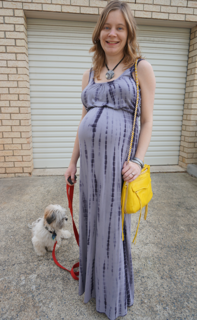 39 weeks pregnant jeanswest grey tie dye maxi dress and bright yellow RM bag
