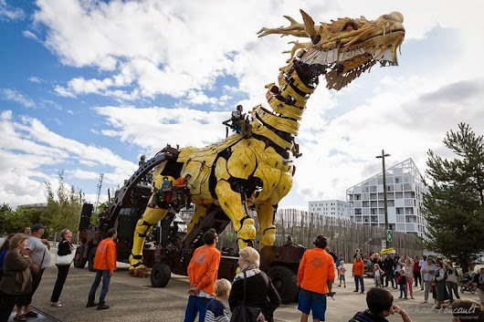 A Mechanical Horse-Dragon Made of Wood and Steel