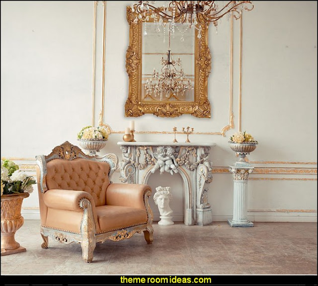 Ornate Gold Baroque Frame Mirror  mythology theme bedrooms - greek theme room - roman theme rooms - angelic heavenly realm theme decorating ideas - Greek Mythology Decorations - heavenly wall murals - angel wings decor - angel theme bedroom ideas - greek mythology decorating ideas - Ancient Greek Corinthian Column -