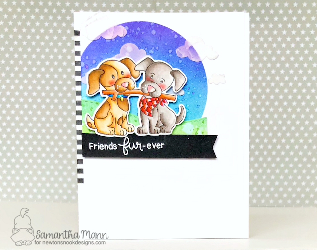 Friend Fur-ever Card by Samantha Mann, Newton's Nook Designs, Distress Inks, blending, handmade card, cards, puppy, dog, #newtonsnook, #cards, #puppies
