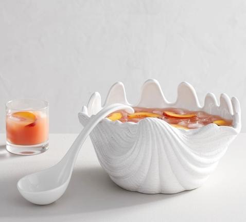 White Ceramic Sea Shell Bowl