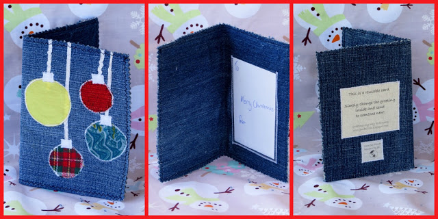 Reusable Christmas Cards made with old jeans and cereal boxes.