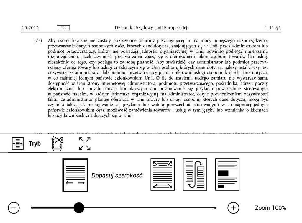 PocketBook Touch HD 3 – PDF w trybie poziomym po zastosowaniu dopasowania do szerokości