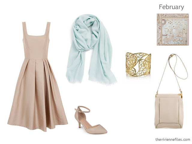 beige dress with accessories
