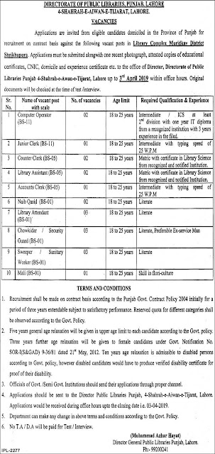 Punjab Public Library Latest Jobs 2019