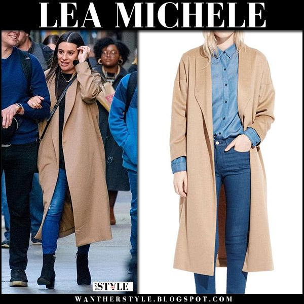 Lea Michele in camel wool coat ayr the robe and skinny jeans j brand alana street winter fashion november 21