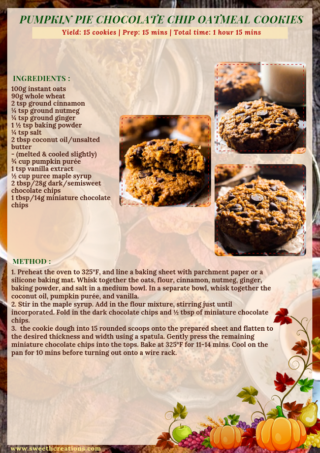 PUMPKIN PIE CHOCOLATE CHIP OATMEAL COOKIES RECIPE