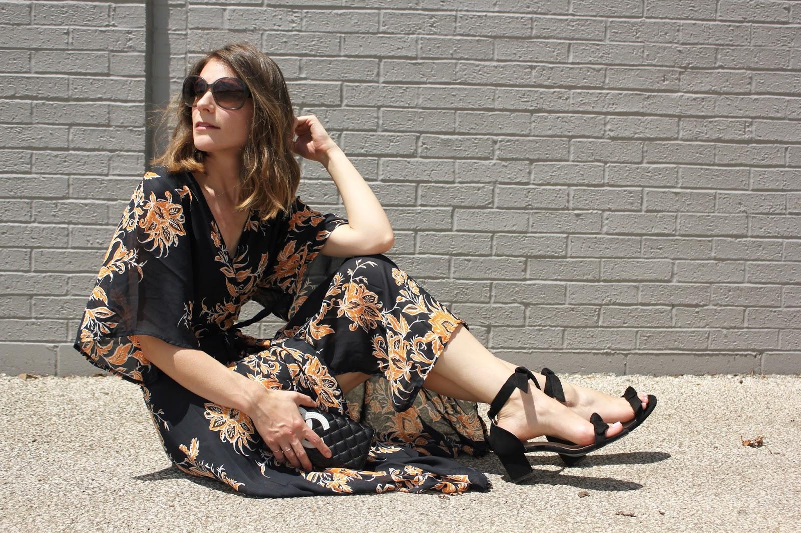 Kimono Sleeves Maxi Dress
