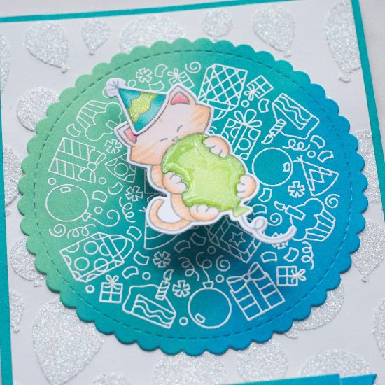 Cat Birthday Card by June Guest Designer Amy Tollner | Birthday Roundabout Stamp Set, Newton's Birthday Bash Stamp Set, Circle Frames Die Set, Balloons Stencil and Banner Trio Die Set by Newton's Nook Designs #newtonsnook #handmade