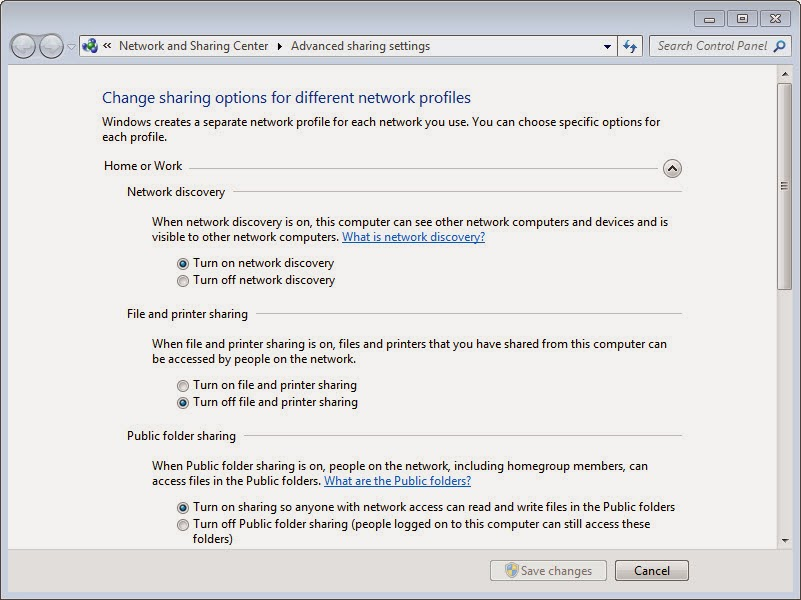 Network and Sharing Windows 7