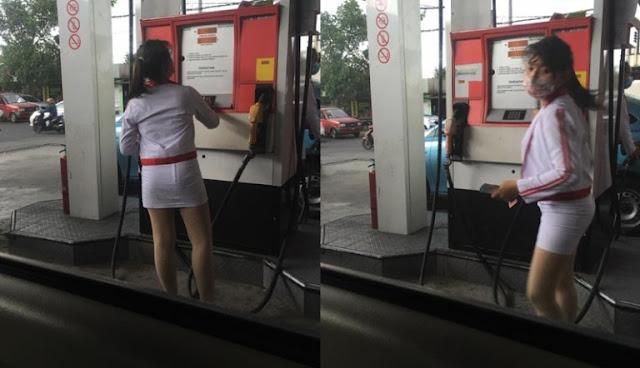 Bikin Heboh! Lihat Saja Petugas SPBU di Bali Ini