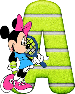 Abecedario de Minnie Jugando al Tenis. Minnie Playing Tennis Alphabet.