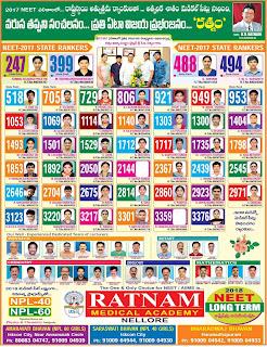 Ratnam edu neet  fullpage ad tirupati