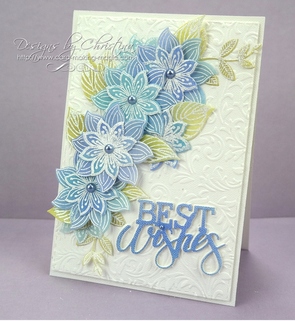 Flowers ribbons and pearls colouring vellum flowers the blue flowers are the ones i created in the video and i think this card is lovely with a really delicate look to it mightylinksfo
