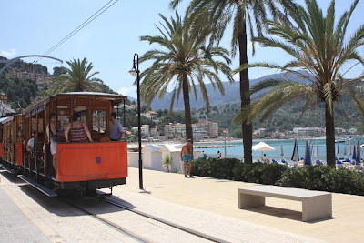 Vintage tram through the promenade of Port de Sóller