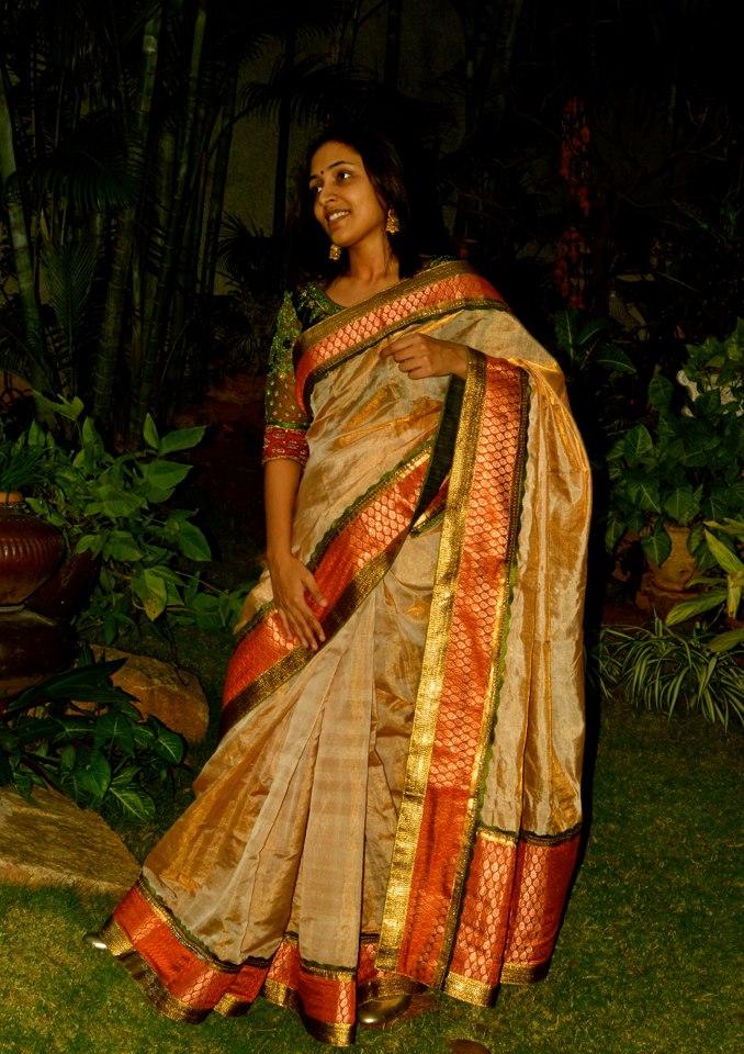 Women S World Uppada Tissue Saree With Brocade Borders
