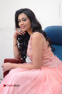 Actress Neha Hinge Stills in Pink Long Dress at Srivalli Teaser Launch  0096.JPG