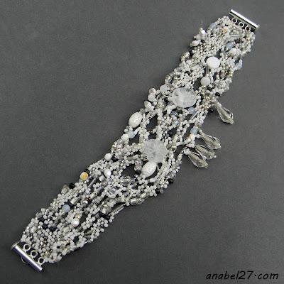 купить белый браслет - свадебное украшение бисер