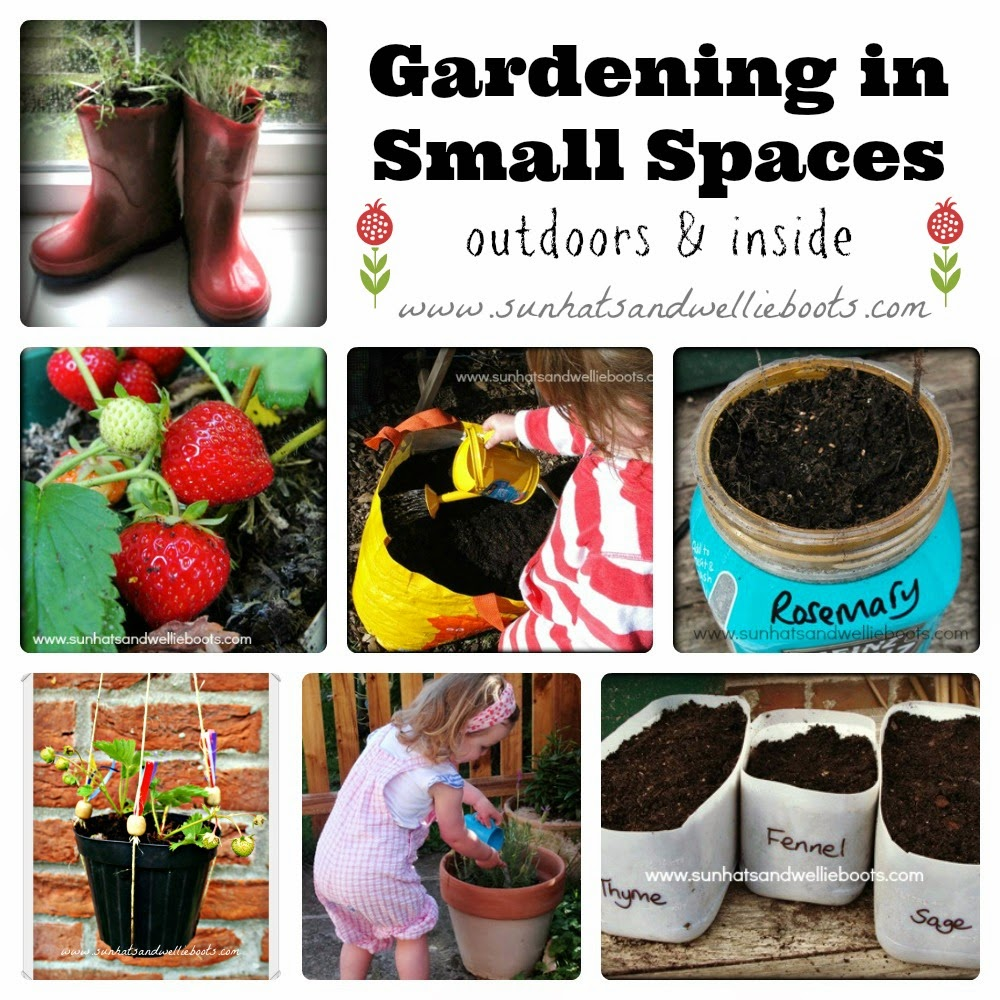 Sun hats wellie boots gardening in small spaces outdoors inside - Garden in small space collection ...