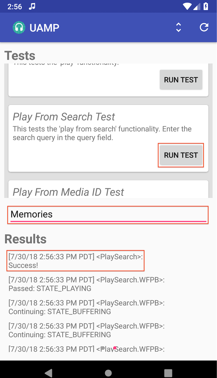 MCT Screenshot of the right screen in the Testing view for UAMP; the Play From Search test was run with the query Memories and ended successfully.