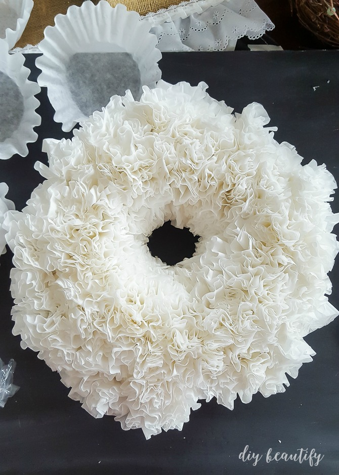 easy coffee filter wreath - White Christmas