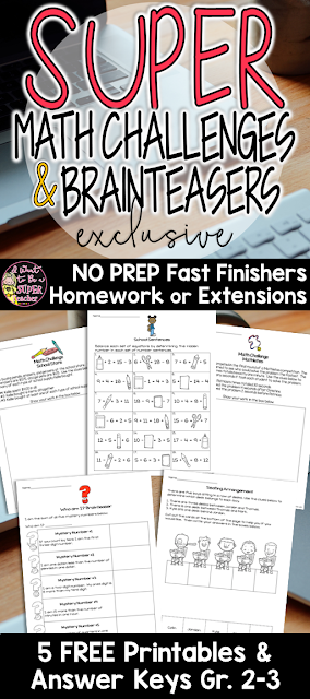 Challenge your advanced mathematicians without breaking a sweat! Use these FREE math challenge and brain teaser activities to challenge your elementary students. These versatile problems can be used as math centers, morning work, centers, small group activities, problem of the week, or as part of a larger problem solving unit! Perfect for advanced kids in 2nd and 3rd grade. Click over for the free printables!