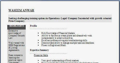 Company Secretary Fresher Resume Format in Doc