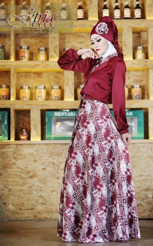 Aneka Koleksi Gaun Batik Muslim Modern Terbaru 2017