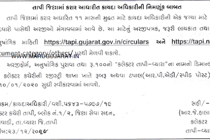 Collector Office, Tapi Recruitment for Legal Officer Posts 2019