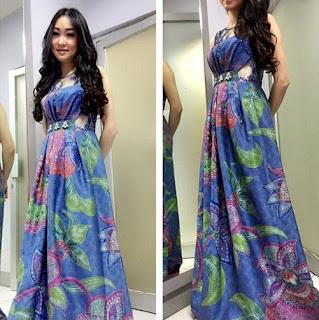 Model baju batik pesta long dress modern