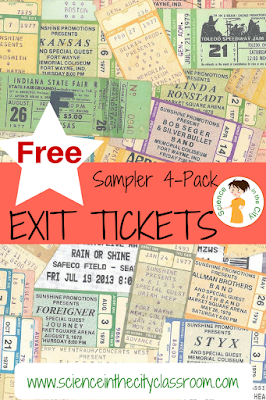 Free sample of exit tickets and more discussion of formative assessment and the use of exit tickets