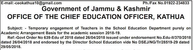Teacher jobs in Kathua District on temporary basis