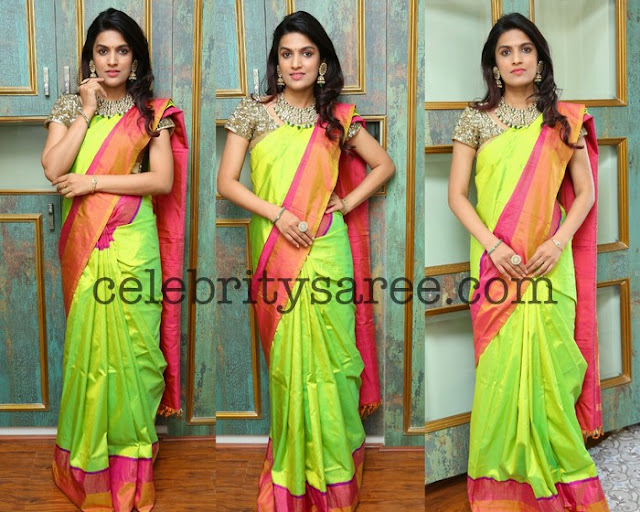 Ritu Neon Green Silk Saree
