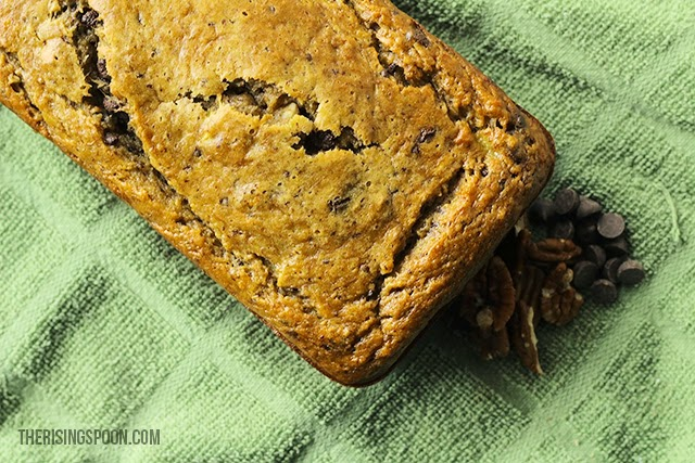 Orange Pecan Dark Chocolate Banana Bread