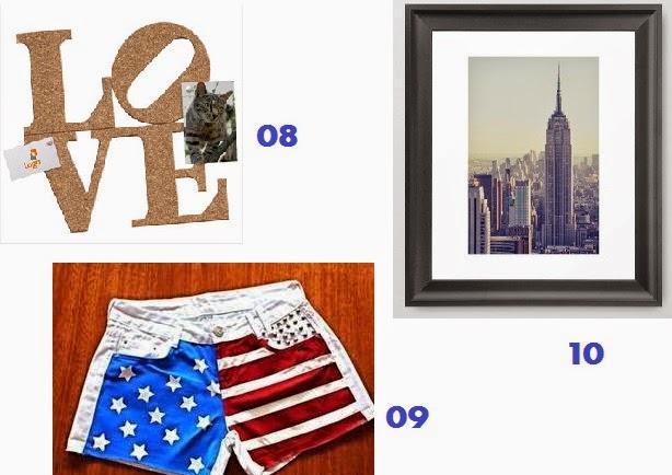 itens de decoração e vestuários americanos e nova iorquinos